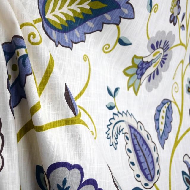 Petal Pusher Juniper Cream Lime Green Blue Teal Brown Jacobean ...