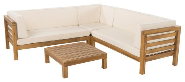 Gdf Studio Oana 5 Seat V Shaped Acacia Wood Sectional Teak Beige