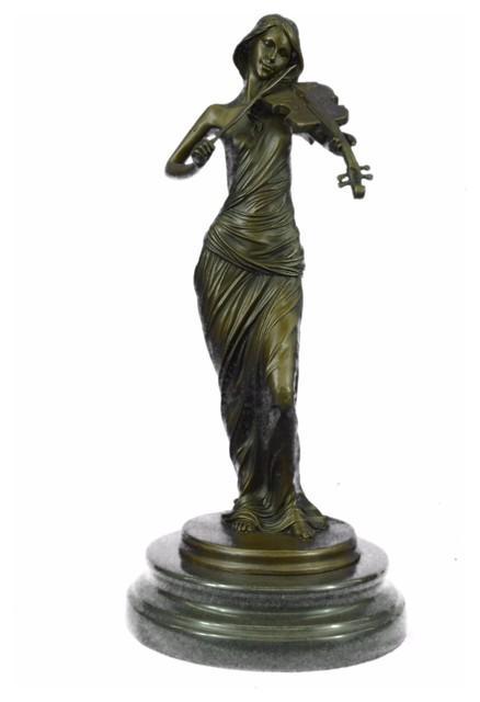 Abstract Modern Art Female Musician Bust Violin Player Bronze Marble Sculpture