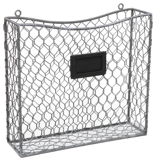 Wall Hanging Wire Baskets rustic wire frame wall mounted magazine and file basket with