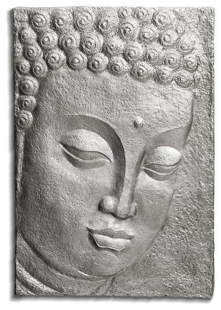 Buddha Sculpture Wall Decor, Large, Silver.