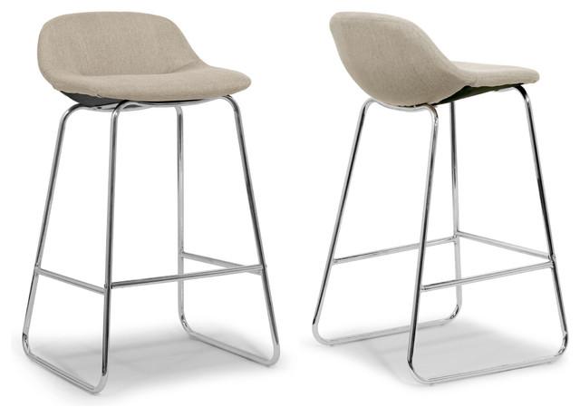 Agalia Modern Cream Fabric Chrome Frame Low Back Bar Stools Set Of 2