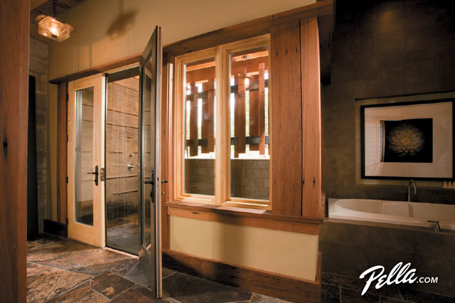 Pella Architect Series Hinged Patio Doors Create Outdoor Spa Contemporary