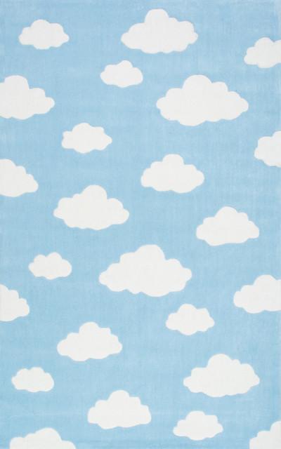 nuloom handmade modern clouds kids rug blue - Nuloom Rugs