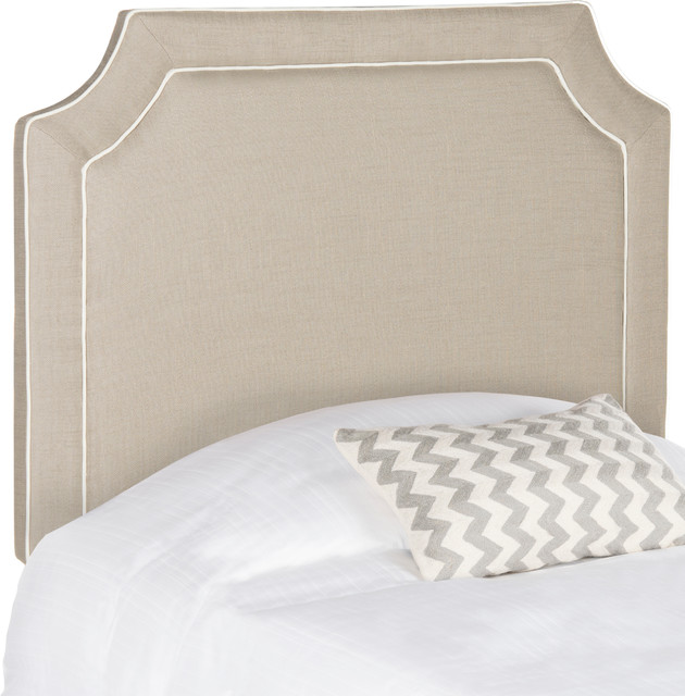 Safavieh Dane Oyester And White Piping Headboard, Oyster And White, Twin.