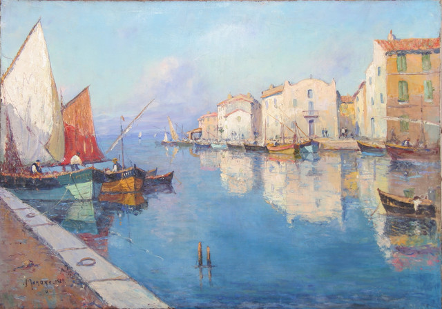 Vincent Manago French Fishing Village Oil Painting