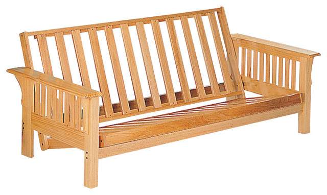 Coaster Full Size Futon Frame In Natural Finish Transitional Frames