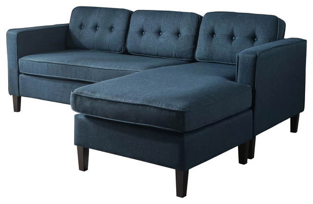 Vivian Mid Century Fabric Chaise Sectional Sofa, Navy Blue.