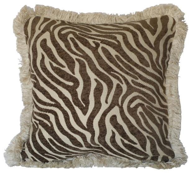 Zebra Animal Skin Chenille Pillows With Fringe For Sofa Or