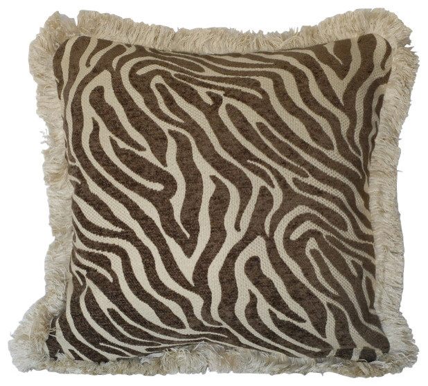 Zebra Animal Skin Chenille Pillows With Fringe For Sofa Or Couch Brown 18x18