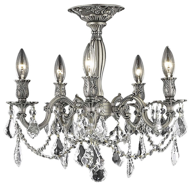 Elegant Lighting Rosalia 5-Light Flush Mount, Clear Crystal, Pewter/royal Cut.
