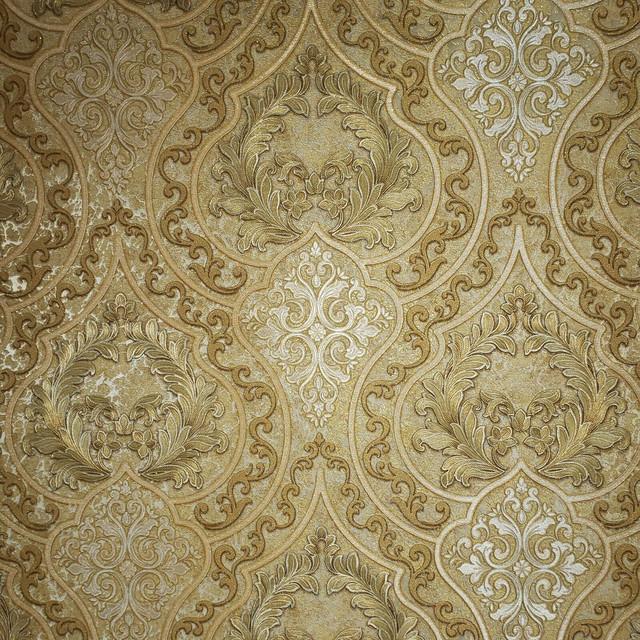 Wallpaper Victorian Damask Orange Gold Metallic Textured 3d