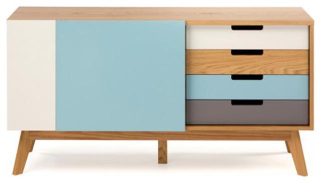 Buffet en bois design scandinave avec tiroirs 135 cm - Buffet style scandinave ...