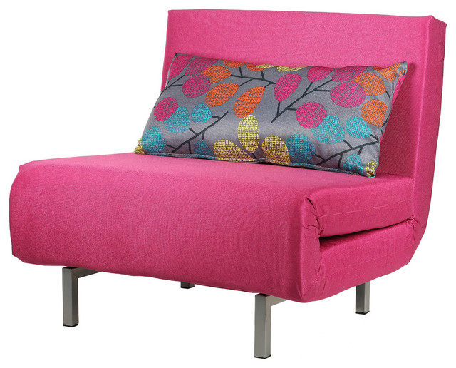 Savion Pink Convertible Accent Chair Bed