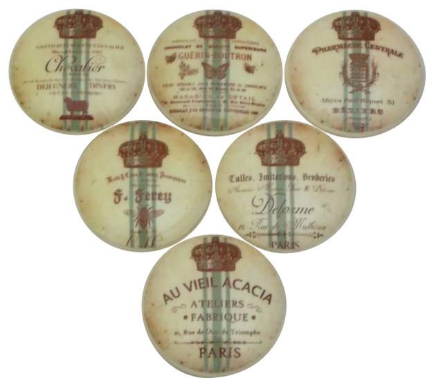 Kitchen Cabinet Labels: French Grain Sack Label Cabinet Knobs, 6-Piece Set