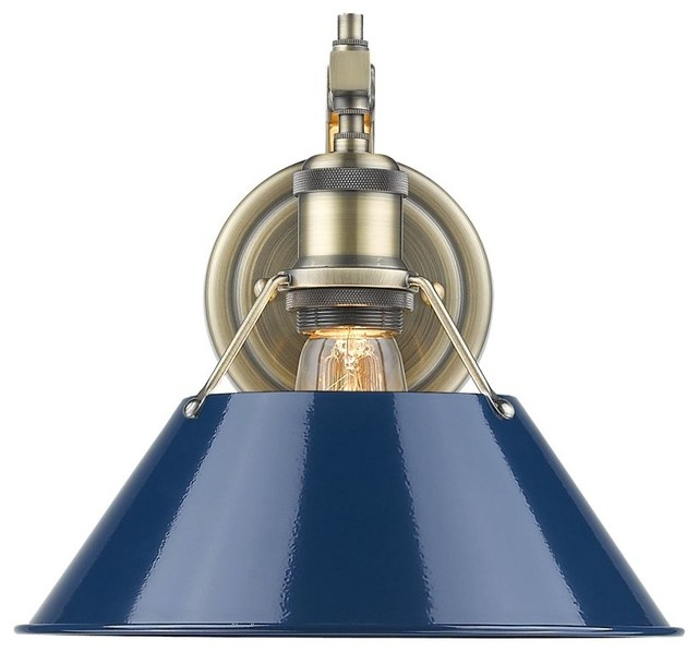 1-Light Aged Brass Wall Sconce With Navy Blue Shade ... on Aged Brass Wall Sconce id=97797