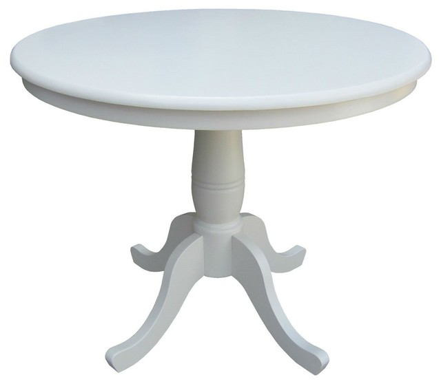 White Wood Finish And Pedestal Base, Round White Dining Table With Pedestal Base