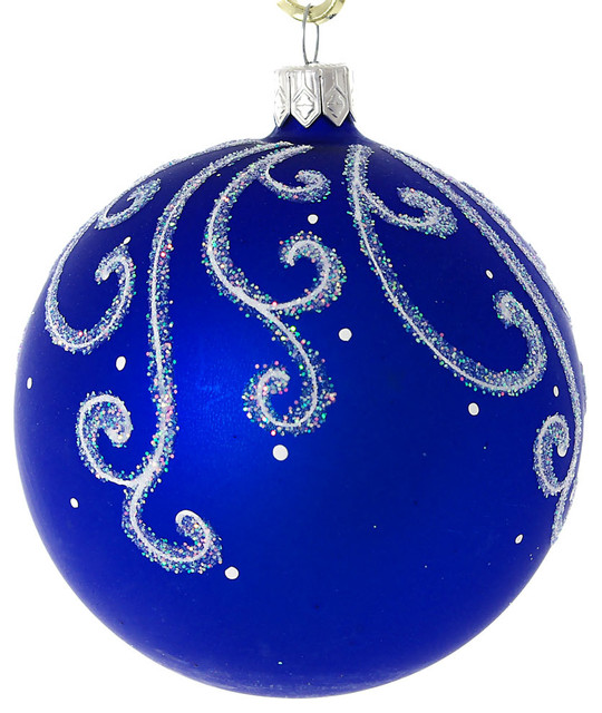 Snowy Pattern Hand Painted Glass Christmas Ornament Blue Matte