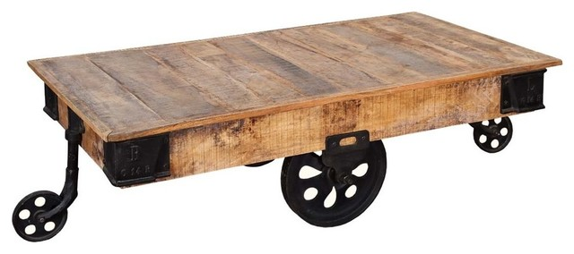 Industrial Rustic Factory Cart Coffee Table