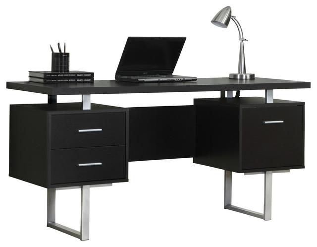 """monarch specialties computer desk, 60"""", cappuccino, silver metal"""