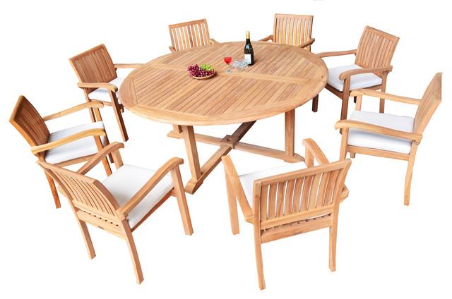 9 Piece Outdoor Patio Teak Dining Set 72 Round Table 8 Nain