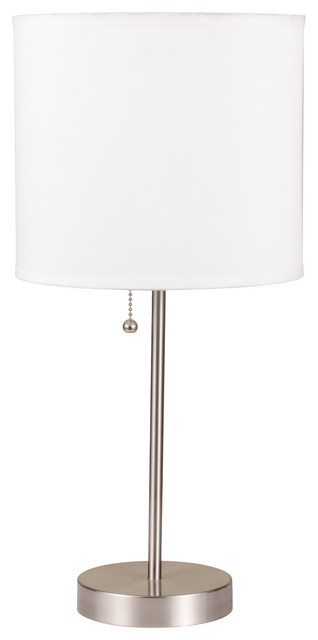 """19"""" Tall Metal Table Lamp With Silver Finish, White Shade."""