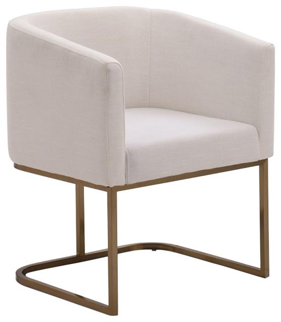Fabulous Modrest Yukon Modern White Fabric And Antique Brass Dining Chair Creativecarmelina Interior Chair Design Creativecarmelinacom