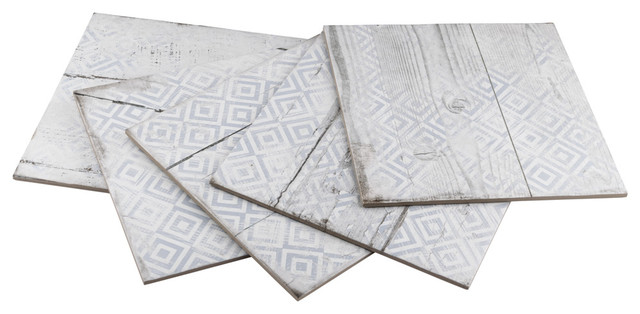 "12.25""x12.25"" Silla Wood Porcelain Floor and Wall Tile, Decor White, Set of 15"
