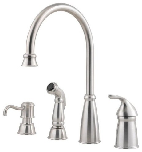 Pfister GT26-4CBS Avalon 1-Handle Kitchen Faucet, Side Spray, Stainless Steel