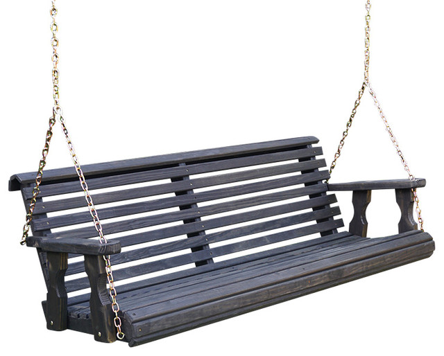 Heavy Duty Roll Back Porch Swing, Hanging Chains, Semi-Solid Black Stain, 5'