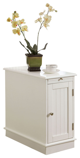 White 1-Door Accent Side End Cabinet Table Stand W/ One Pull-Out Tray - Beach Style - Accent ...