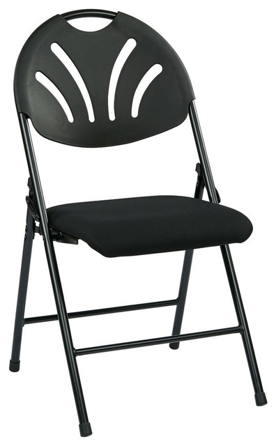 Cool Folding Chair With Black Plastic Fan Back And Fabric Seat Black Frame Set Of 4 Ibusinesslaw Wood Chair Design Ideas Ibusinesslaworg