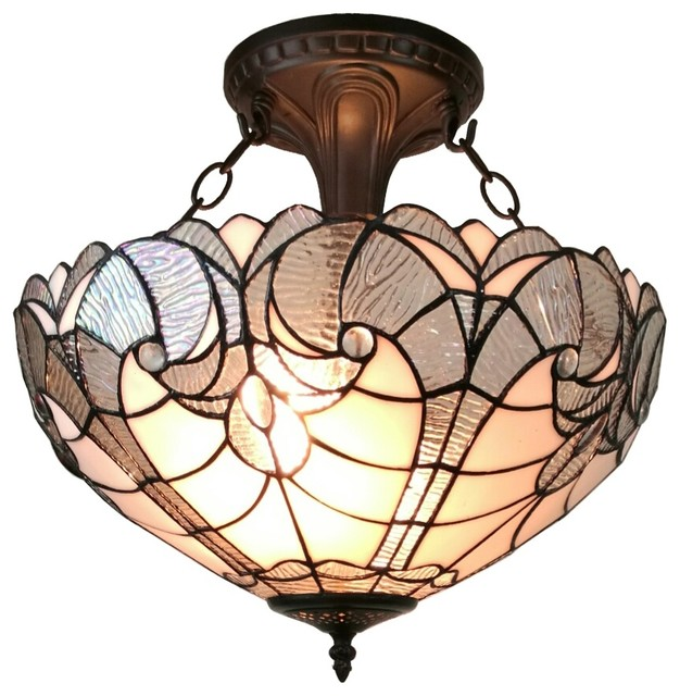 Tiffany Style Semi Flush Mount Ceiling Fixture 16 In Wide.