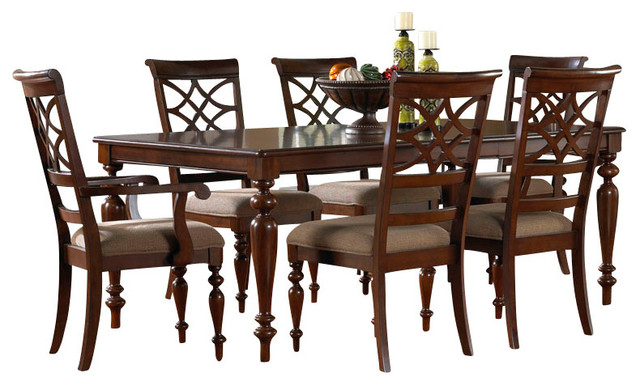 standard furniture woodmont 8-piece leg dining room set with arm