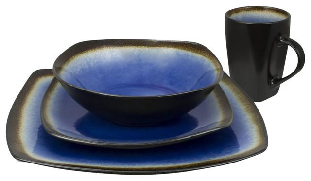 Haus by Kalorik 16-Piece Dinnerware Set Curved Edges Brown Blue  sc 1 st  Houzz & Haus by Kalorik 16-Piece Dinnerware Set Curved Edges Brown Blue ...