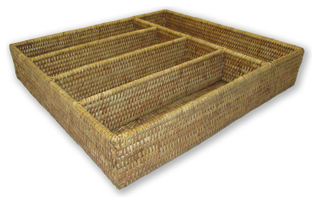 Artifacts Rattan 5-Section Cutlery Holder, Honey Brown.