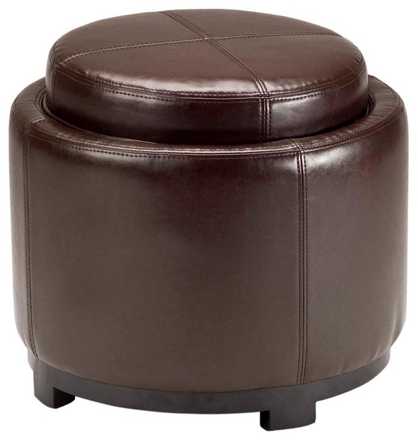 Terrific Safavieh Chelsea Round Tray Ottoman Brown Dailytribune Chair Design For Home Dailytribuneorg