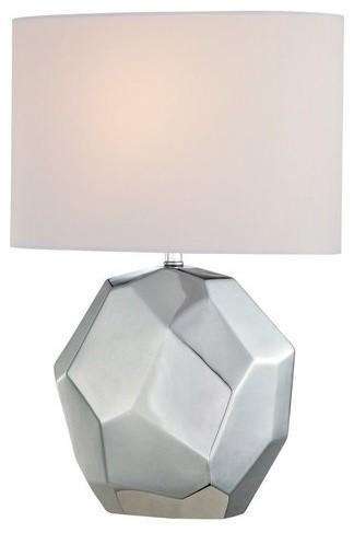 Piera 1-Light Table Lamps, Chrome Ceramic.
