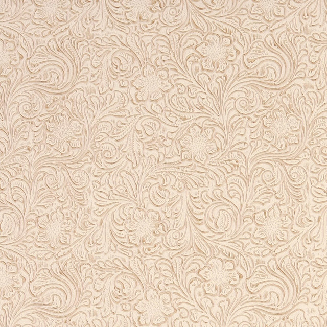 Stone Off White Tooled Floral Designed Upholstery Faux Leather By