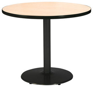 """42"""" Round Pedestal Table with Natural Top, Round Black Base"""
