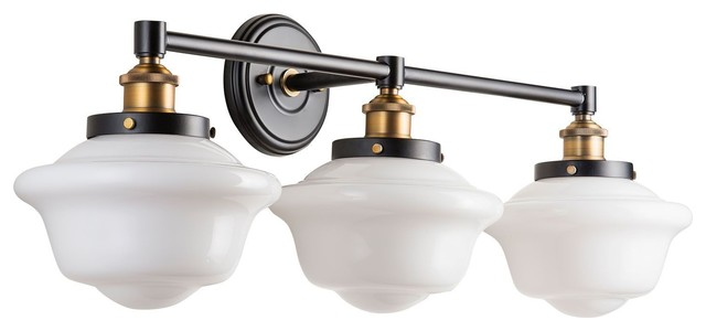 Milk Glass Bath Light: Lavagna 3 Light Schoolhouse Wall Sconce