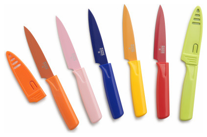 Modern Kitchen Knife Set rikon colors paring knives, set of 6 - modern - knife sets -
