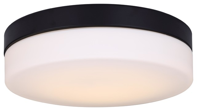Canarm Jax 18.5w Led Flush Mount, Black With Flat Opal Glass, Dimmable.