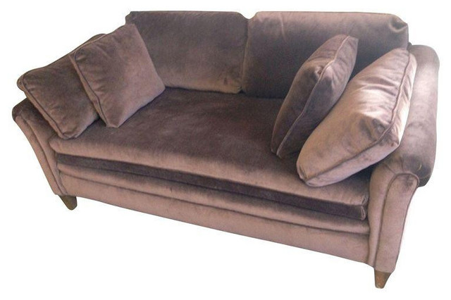 Small Brown Vintage Velvet Loveseat 1200 Est Retail 995 on