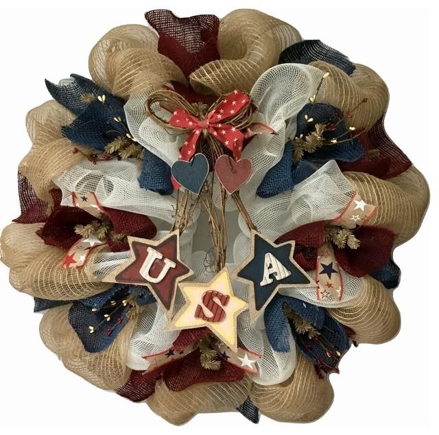 Dangling Usa Stars Patriotic Wreath Handmade Deco Mesh.