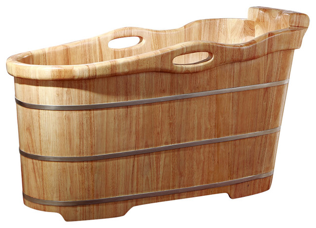 """57"""" Free Standing Rubber Wood Soaking Bathtub With Headrest, Natural Wood."""