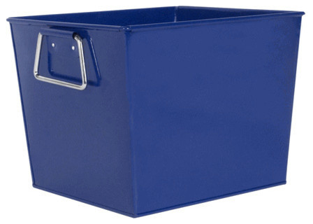 Blue Metal Bucket Square Contemporary Baskets By