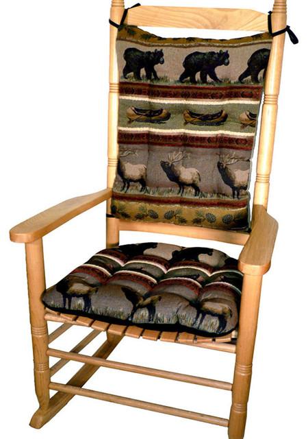 Woodlands Northwoods Rocking Chair Cushion Set Bear Extra Large