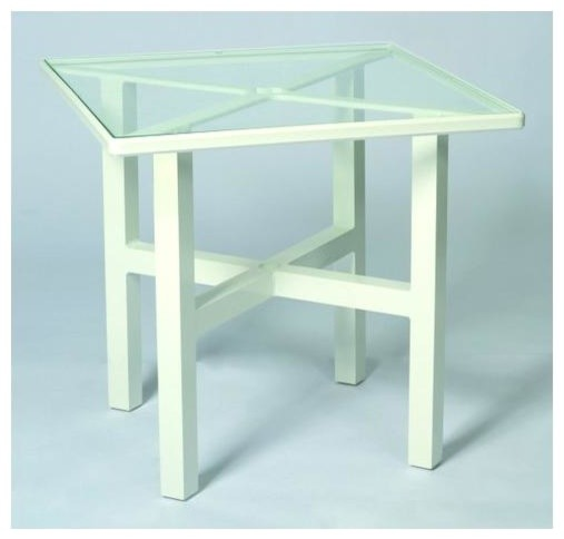 30 in elite square dining table clear glass