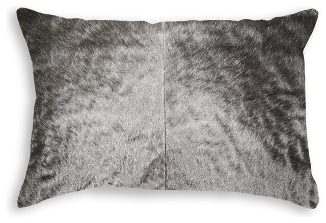 Natural Torino Cowhide Pillow 12 X20 Black